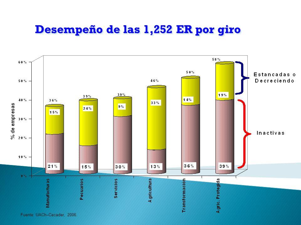 Desempeño de las 1,252 ER por giro Fuente: UACh–Cecader, 2006.