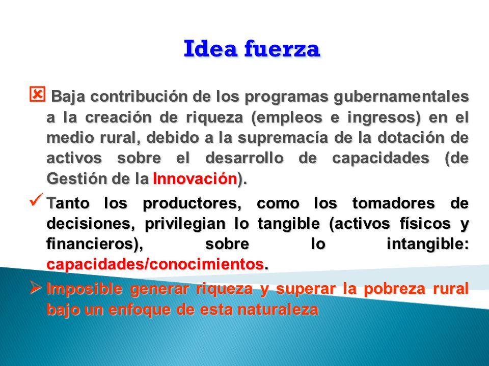 Idea fuerza Baja contribución de los programas gubernamentales a la creación de riqueza (empleos e ingresos) en el medio rural, debido a la supremacía de la dotación de activos sobre el desarrollo de capacidades (de Gestión de la Innovación).