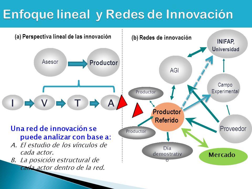 AGI Proveedor Campo Experimental INIFAP, U niversidad Productor Referido Día demostrativ o Productor Asesor Productor (a) Perspectiva lineal de las innovación (b) Redes de innovación Una red de innovación se puede analizar con base a: A.El estudio de los vínculos de cada actor.