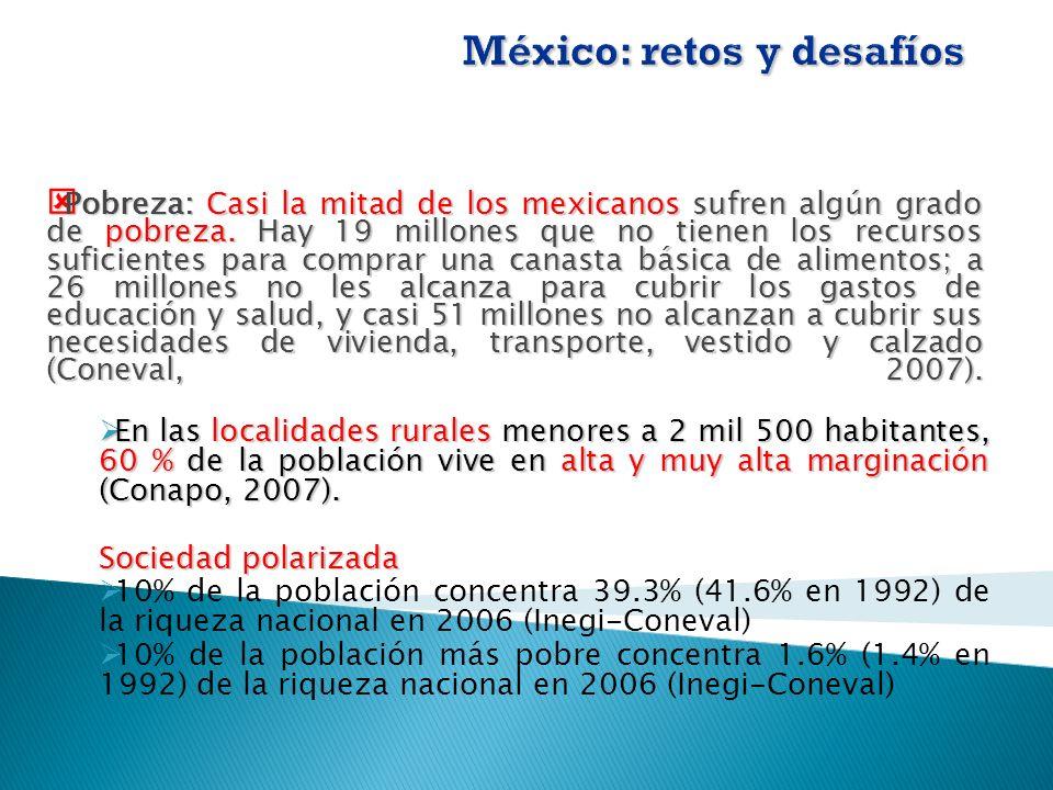 Pobreza:Casi la mitad de los mexicanos sufren algún grado de pobreza.