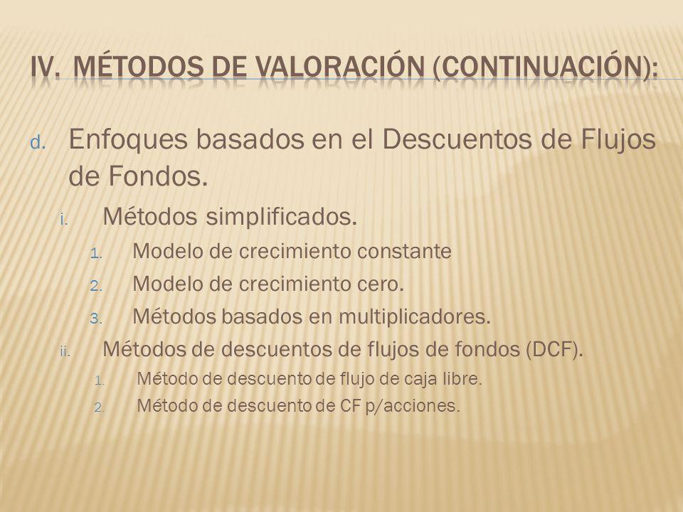 d. Enfoques basados en el Descuentos de Flujos de Fondos. i. Métodos simplificados. 1. Modelo de crecimiento constante 2. Modelo de crecimiento cero.