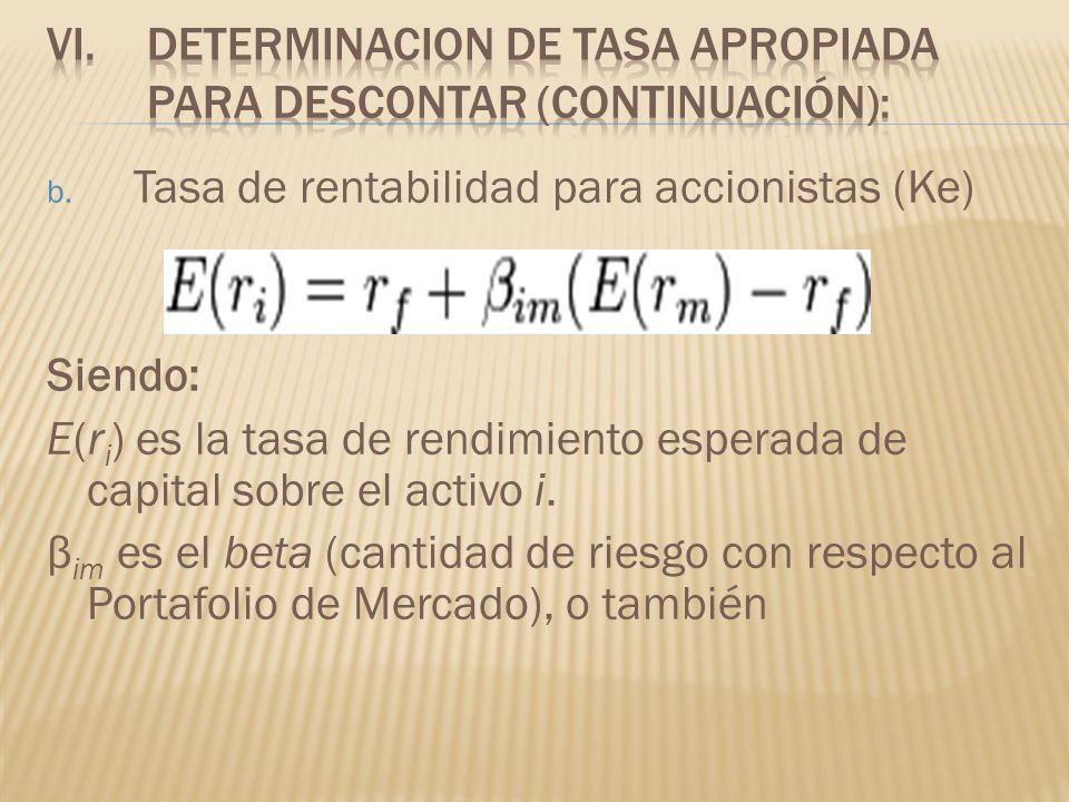 b. Tasa de rentabilidad para accionistas (Ke) Siendo: E(r i ) es la tasa de rendimiento esperada de capital sobre el activo i. β im es el beta (cantid