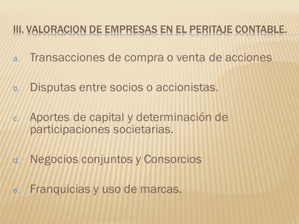 a. Transacciones de compra o venta de acciones b. Disputas entre socios o accionistas. c. Aportes de capital y determinación de participaciones societ