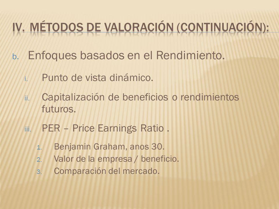 b. Enfoques basados en el Rendimiento. i. Punto de vista dinámico. ii. Capitalización de beneficios o rendimientos futuros. iii. PER – Price Earnings