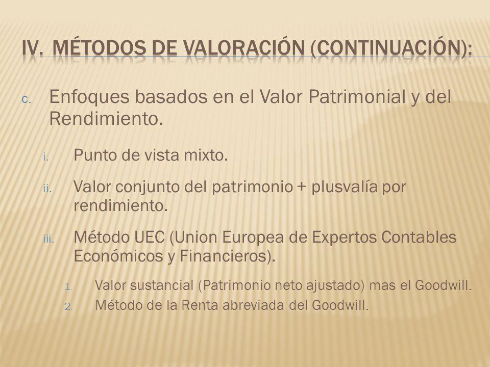 c. Enfoques basados en el Valor Patrimonial y del Rendimiento. i. Punto de vista mixto. ii. Valor conjunto del patrimonio + plusvalía por rendimiento.