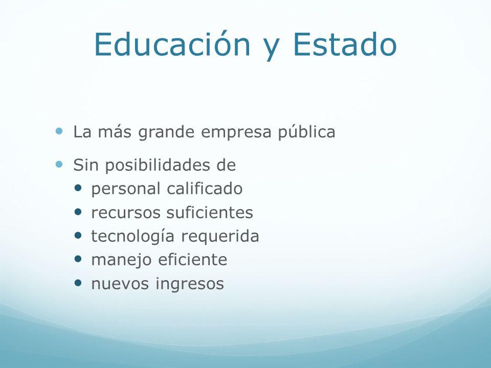 Educación y Estado La más grande empresa pública Sin posibilidades de personal calificado recursos suficientes tecnología requerida manejo eficiente n