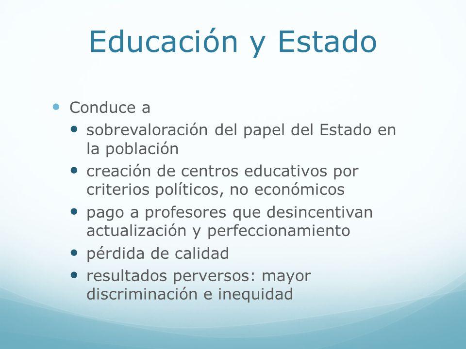 Educación y Estado Conduce a sobrevaloración del papel del Estado en la población creación de centros educativos por criterios políticos, no económico