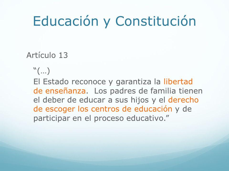 Educación y Constitución Artículo 13 (…) El Estado reconoce y garantiza la libertad de enseñanza. Los padres de familia tienen el deber de educar a su