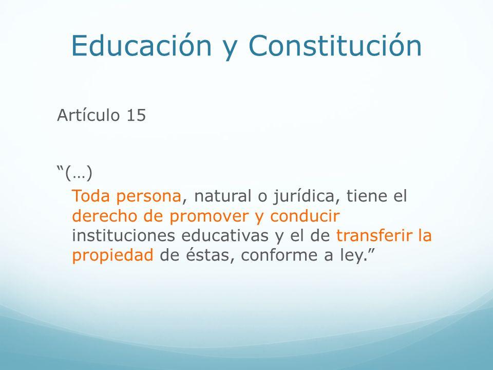 Educación y Constitución Artículo 15 (…) Toda persona, natural o jurídica, tiene el derecho de promover y conducir instituciones educativas y el de tr