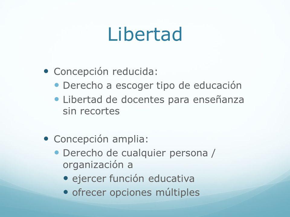 Libertad Concepción reducida: Derecho a escoger tipo de educación Libertad de docentes para enseñanza sin recortes Concepción amplia: Derecho de cualq