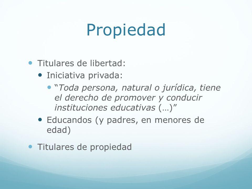 Propiedad Titulares de libertad: Iniciativa privada: Toda persona, natural o jurídica, tiene el derecho de promover y conducir instituciones educativa