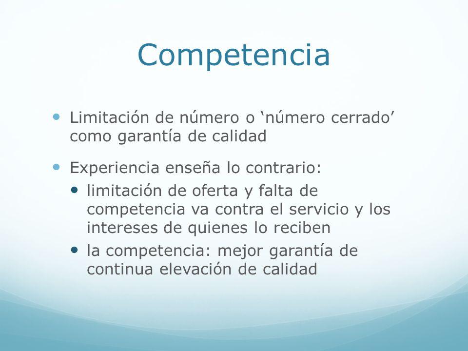 Competencia Limitación de número o número cerrado como garantía de calidad Experiencia enseña lo contrario: limitación de oferta y falta de competenci