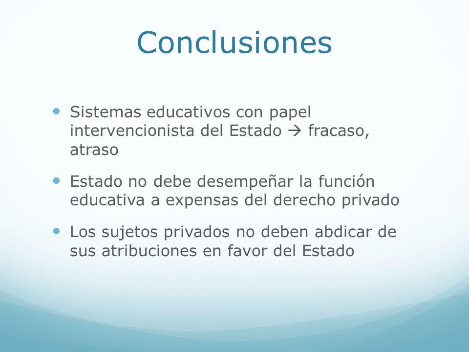 Conclusiones Sistemas educativos con papel intervencionista del Estado fracaso, atraso Estado no debe desempeñar la función educativa a expensas del d