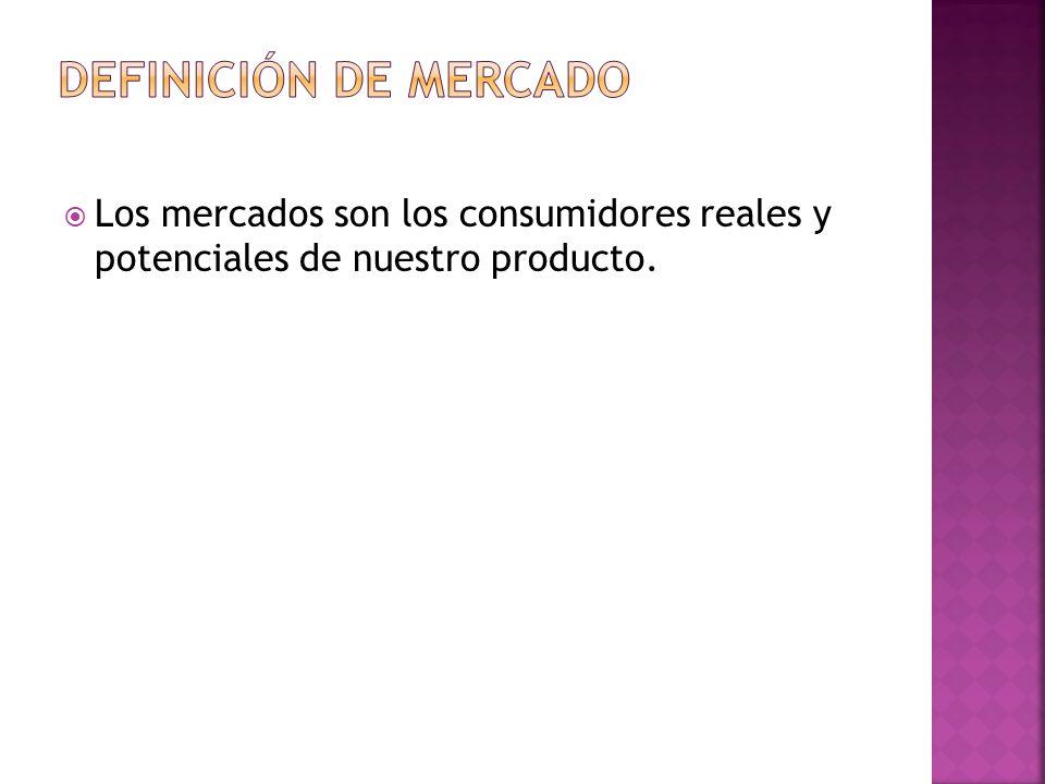 Los mercados son los consumidores reales y potenciales de nuestro producto.