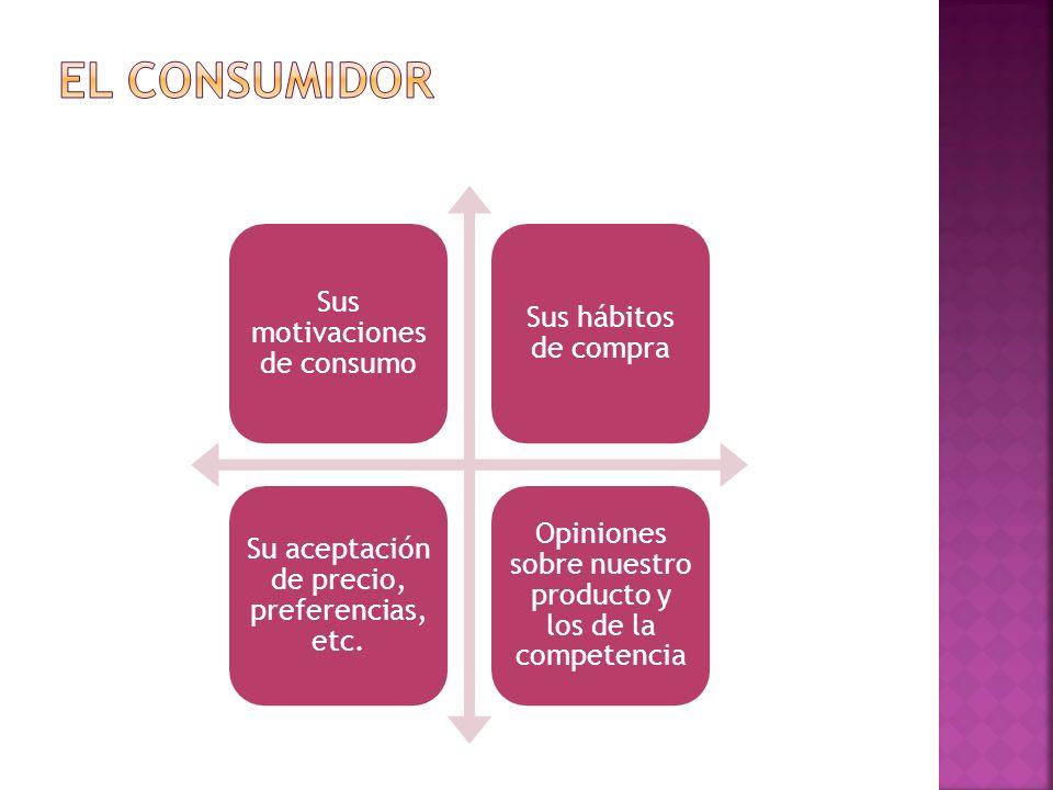 Sus motivaciones de consumo Sus hábitos de compra Su aceptación de precio, preferencias, etc. Opiniones sobre nuestro producto y los de la competencia
