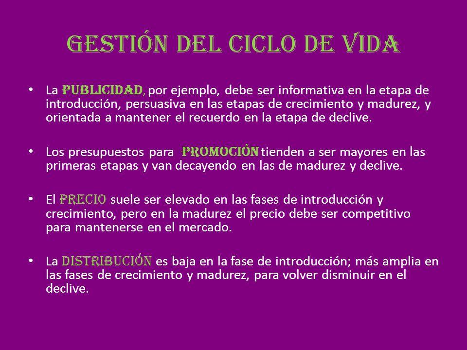 Gestión del ciclo de vida La publicidad, por ejemplo, debe ser informativa en la etapa de introducción, persuasiva en las etapas de crecimiento y madu