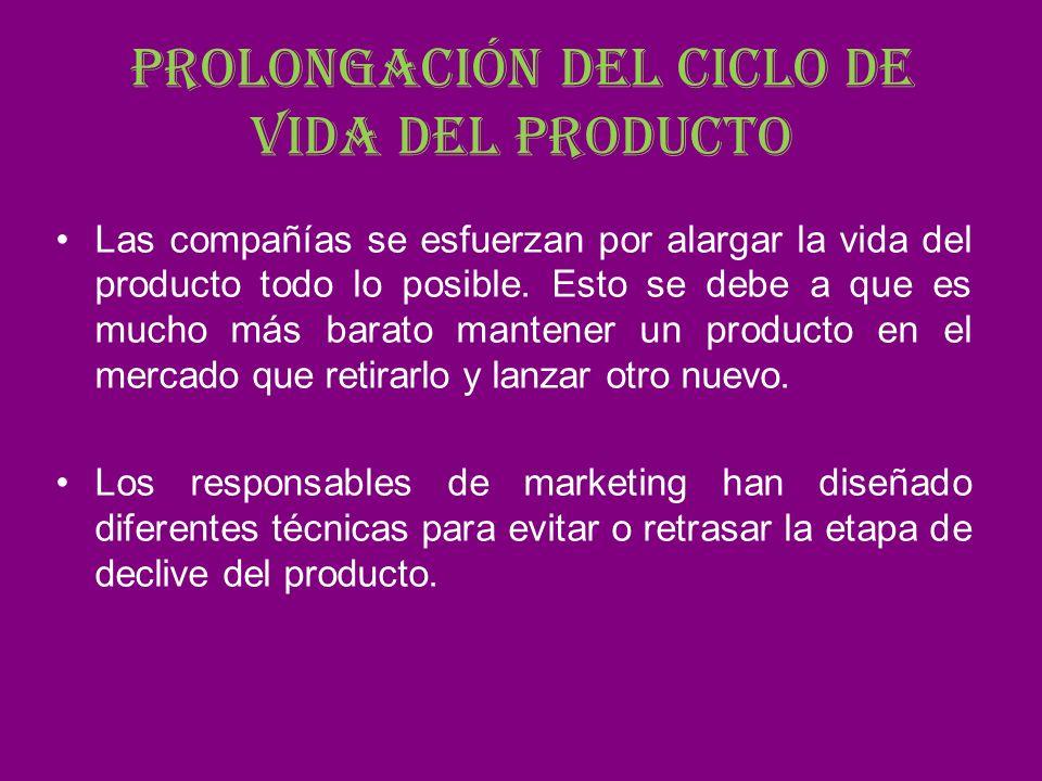 Prolongación del ciclo de vida del producto Las compañías se esfuerzan por alargar la vida del producto todo lo posible. Esto se debe a que es mucho m
