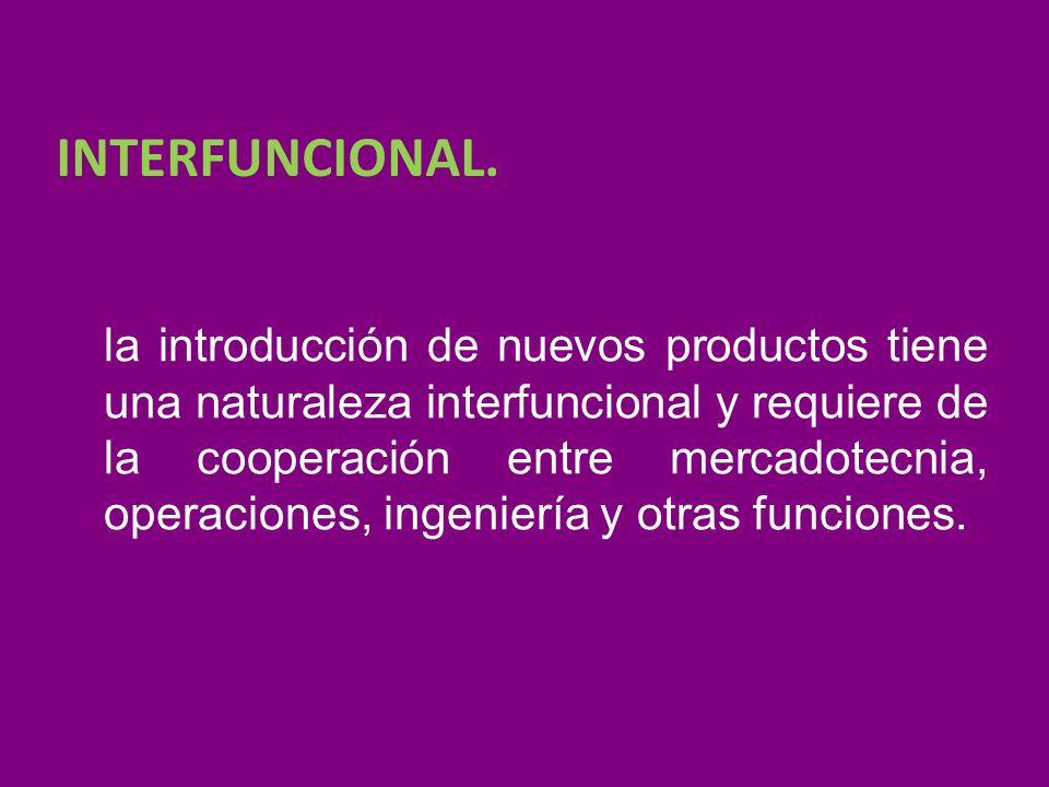 INTERFUNCIONAL. la introducción de nuevos productos tiene una naturaleza interfuncional y requiere de la cooperación entre mercadotecnia, operaciones,