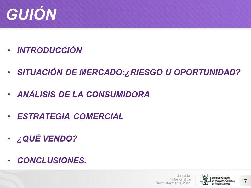 17 GUIÓN INTRODUCCIÓN SITUACIÓN DE MERCADO:¿RIESGO U OPORTUNIDAD? ANÁLISIS DE LA CONSUMIDORA ESTRATEGIA COMERCIAL ¿QUÉ VENDO? CONCLUSIONES.