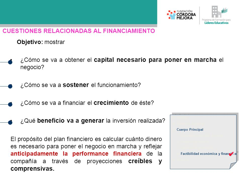Objetivo: mostrar ¿Cómo se va a obtener el capital necesario para poner en marcha el negocio? ¿Cómo se va a sostener el funcionamiento? ¿Cómo se va a