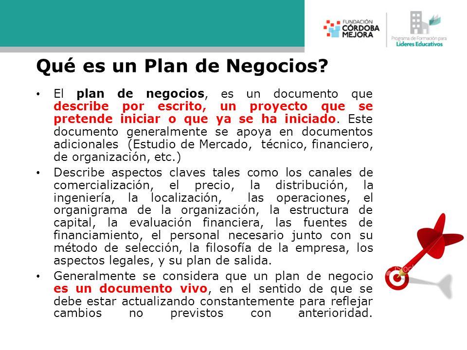 Qué es un Plan de Negocios? El plan de negocios, es un documento que describe por escrito, un proyecto que se pretende iniciar o que ya se ha iniciado