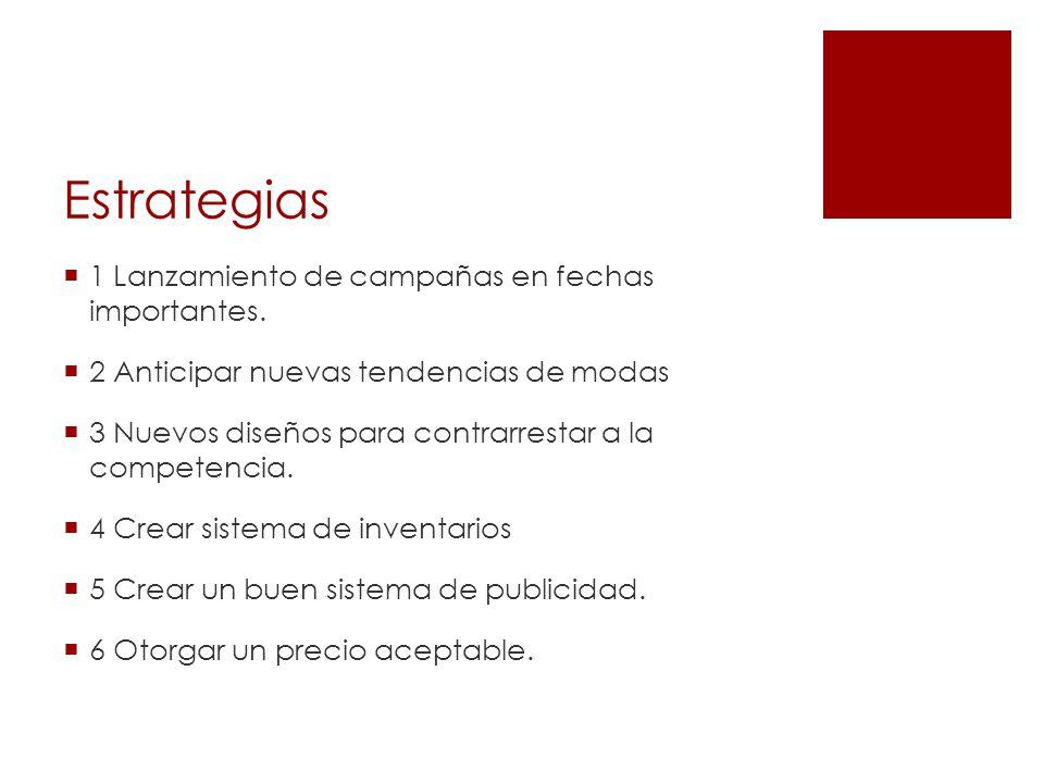 Estrategias 1 Lanzamiento de campañas en fechas importantes. 2 Anticipar nuevas tendencias de modas 3 Nuevos diseños para contrarrestar a la competenc
