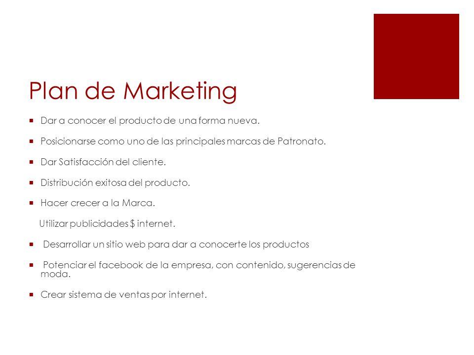 Plan de Marketing Dar a conocer el producto de una forma nueva. Posicionarse como uno de las principales marcas de Patronato. Dar Satisfacción del cli