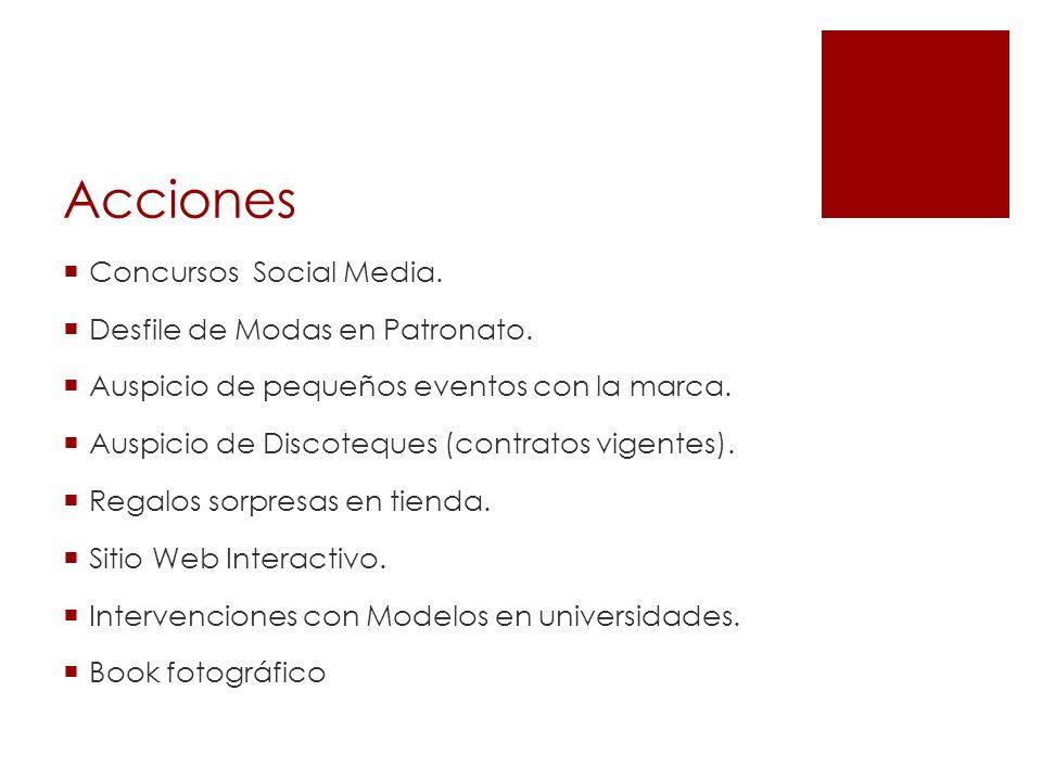 Acciones Concursos Social Media. Desfile de Modas en Patronato. Auspicio de pequeños eventos con la marca. Auspicio de Discoteques (contratos vigentes