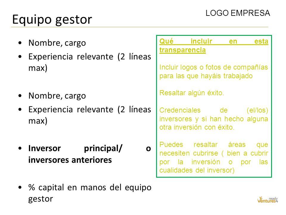 Equipo gestor Nombre, cargo Experiencia relevante (2 líneas max) Nombre, cargo Experiencia relevante (2 líneas max) Inversor principal/ o inversores a