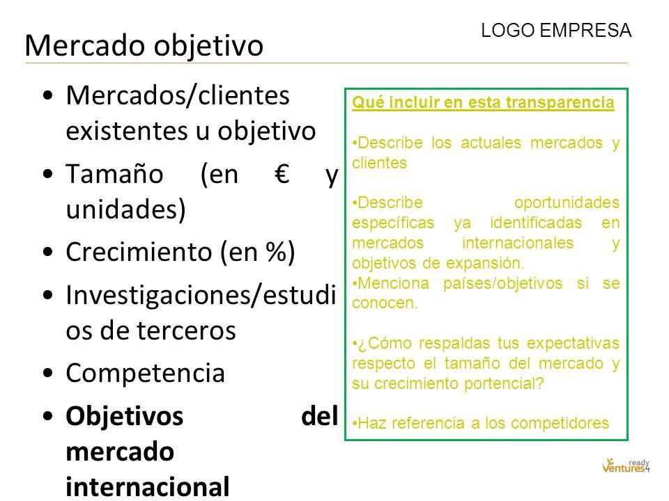 Mercado objetivo Mercados/clientes existentes u objetivo Tamaño (en y unidades) Crecimiento (en %) Investigaciones/estudi os de terceros Competencia O