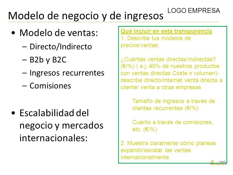 Modelo de negocio y de ingresos Modelo de ventas: –Directo/Indirecto –B2b y B2C –Ingresos recurrentes –Comisiones Escalabilidad del negocio y mercados