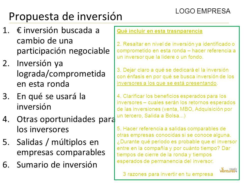 Propuesta de inversión 1. inversión buscada a cambio de una participación negociable 2.Inversión ya lograda/comprometida en esta ronda 3.En qué se usa