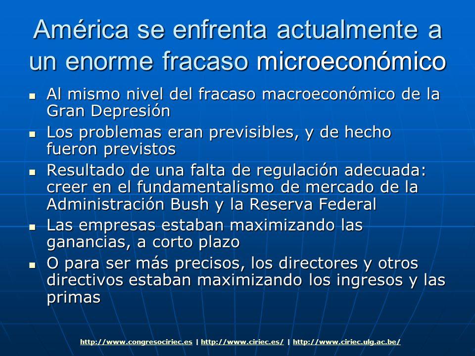 América se enfrenta actualmente a un enorme fracaso microeconómico Al mismo nivel del fracaso macroeconómico de la Gran Depresión Al mismo nivel del f