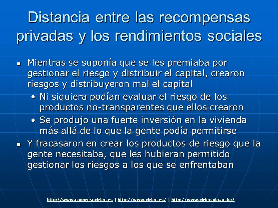 Distancia entre las recompensas privadas y los rendimientos sociales Mientras se suponía que se les premiaba por gestionar el riesgo y distribuir el c