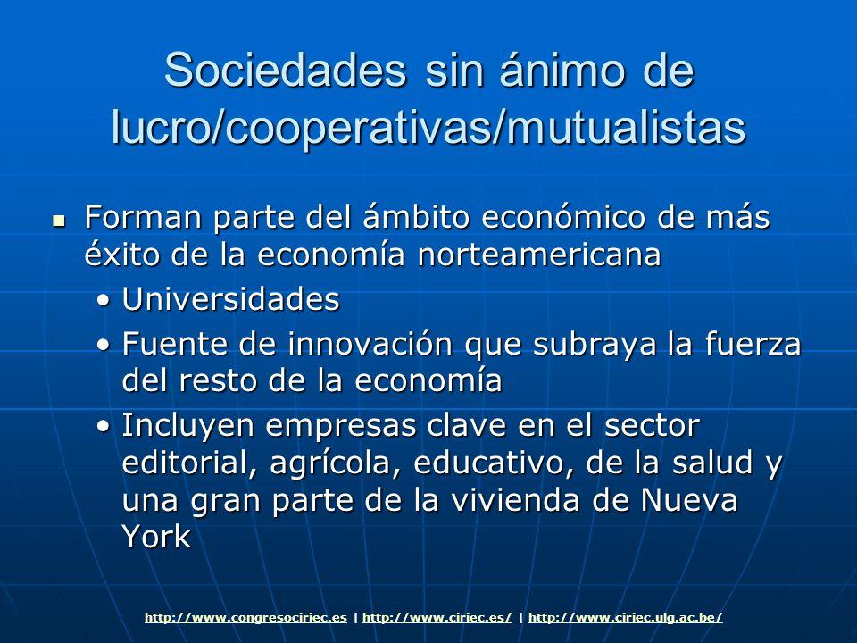 Sociedades sin ánimo de lucro/cooperativas/mutualistas Forman parte del ámbito económico de más éxito de la economía norteamericana Forman parte del á