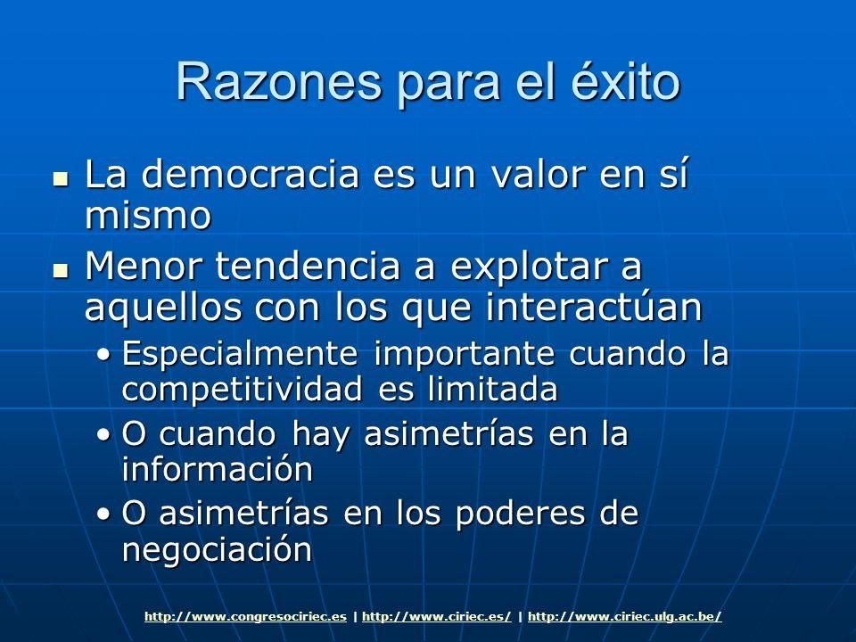 Razones para el éxito La democracia es un valor en sí mismo La democracia es un valor en sí mismo Menor tendencia a explotar a aquellos con los que in