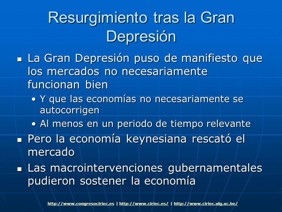 Resurgimiento tras la Gran Depresión La Gran Depresión puso de manifiesto que los mercados no necesariamente funcionan bien La Gran Depresión puso de