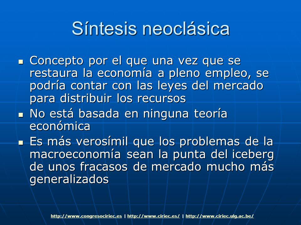 Síntesis neoclásica Concepto por el que una vez que se restaura la economía a pleno empleo, se podría contar con las leyes del mercado para distribuir