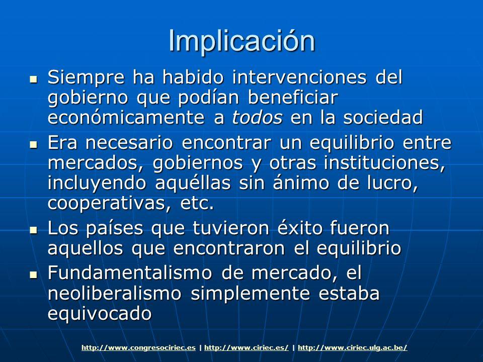 Implicación Siempre ha habido intervenciones del gobierno que podían beneficiar económicamente a todos en la sociedad Siempre ha habido intervenciones