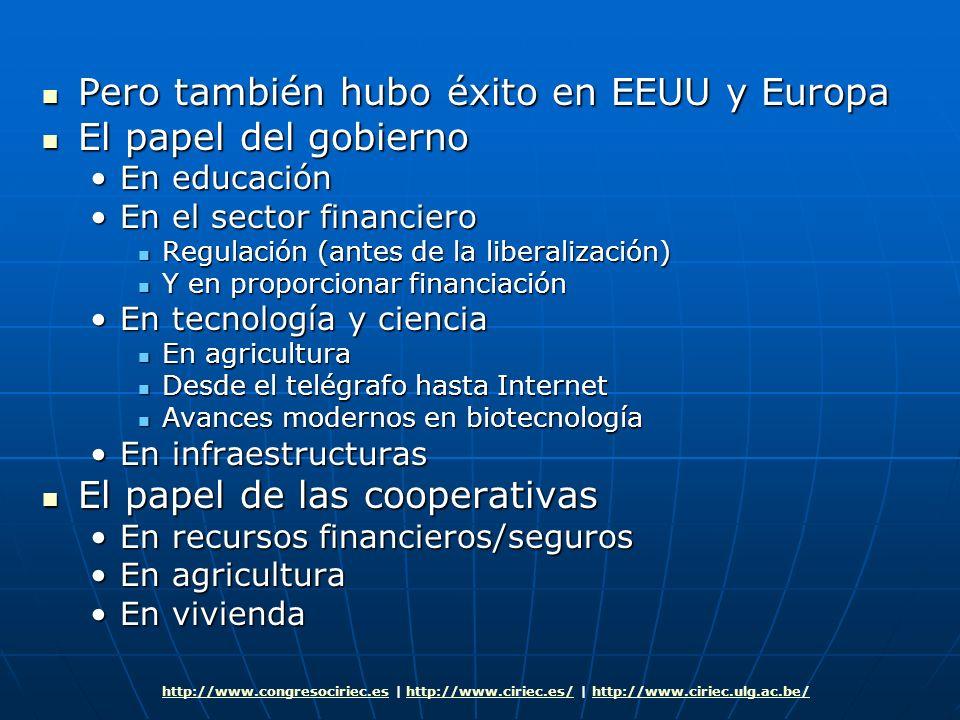 Pero también hubo éxito en EEUU y Europa Pero también hubo éxito en EEUU y Europa El papel del gobierno El papel del gobierno En educaciónEn educación