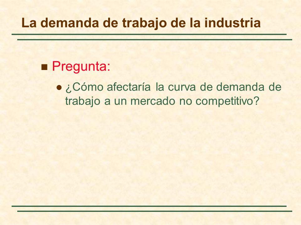 La demanda de trabajo de la industria Pregunta: ¿Cómo afectaría la curva de demanda de trabajo a un mercado no competitivo?