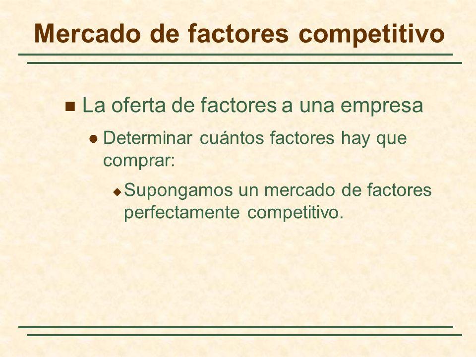 Mercado de factores competitivo La oferta de factores a una empresa Determinar cuántos factores hay que comprar: Supongamos un mercado de factores per