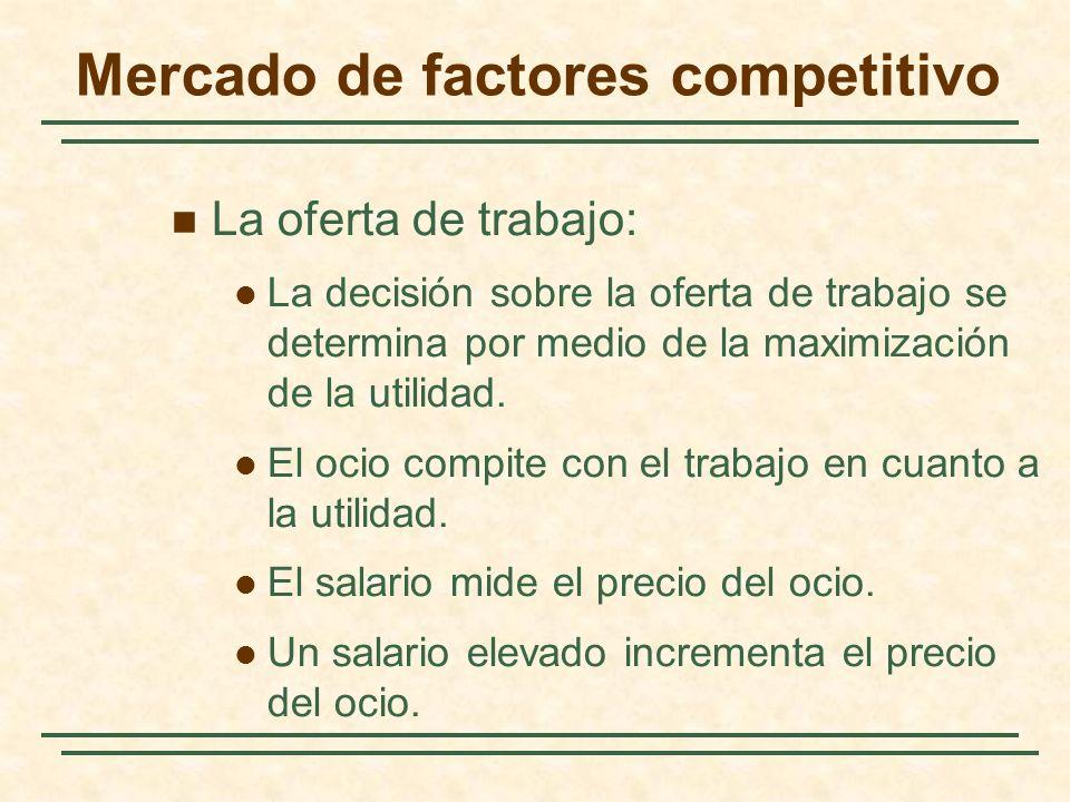 La oferta de trabajo: La decisión sobre la oferta de trabajo se determina por medio de la maximización de la utilidad. El ocio compite con el trabajo