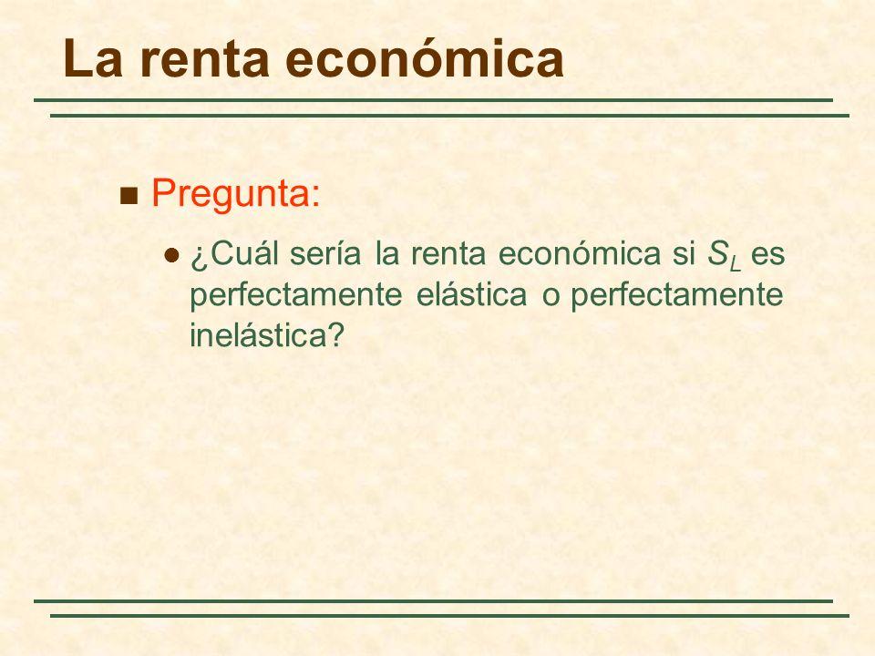 Pregunta: ¿Cuál sería la renta económica si S L es perfectamente elástica o perfectamente inelástica? La renta económica