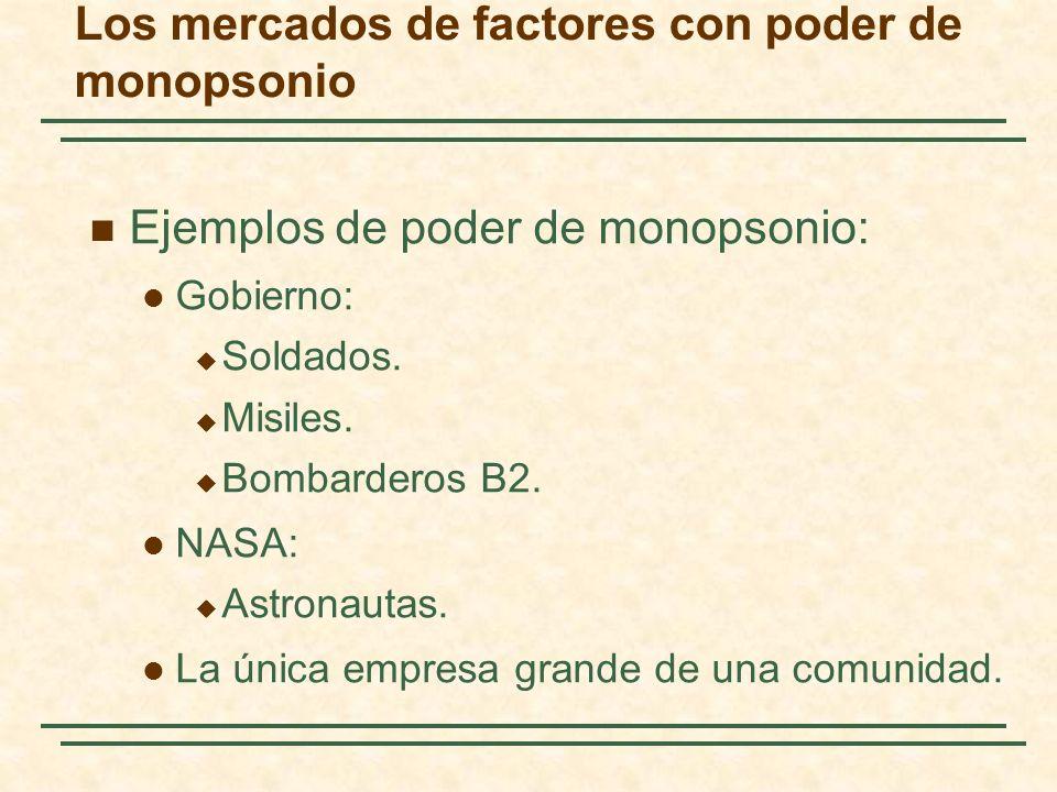Ejemplos de poder de monopsonio: Gobierno: Soldados. Misiles. Bombarderos B2. NASA: Astronautas. La única empresa grande de una comunidad. Los mercado