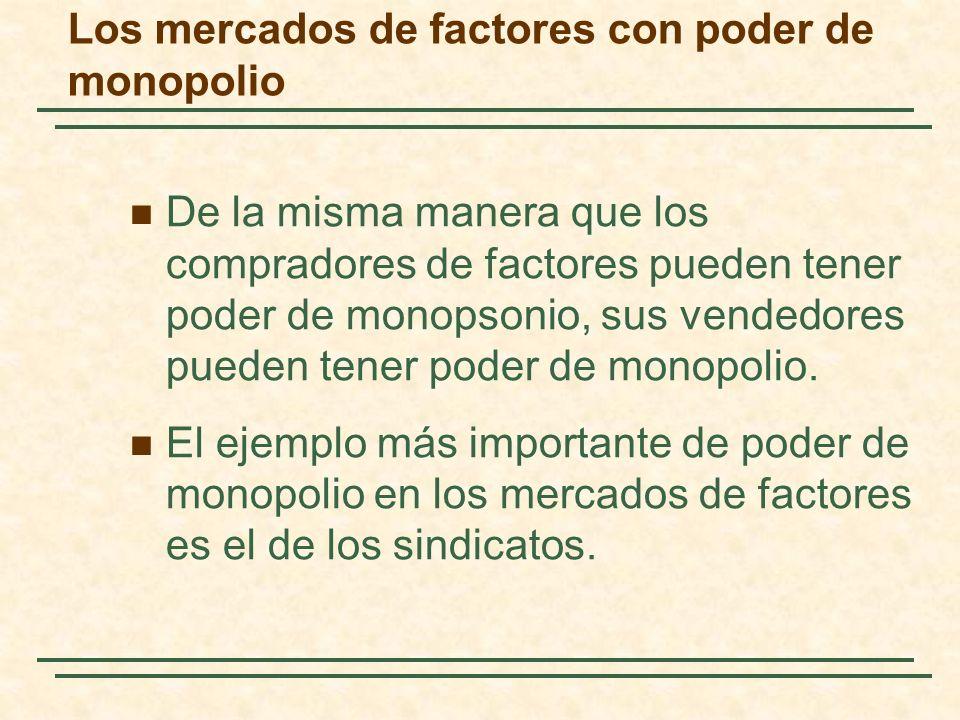 Los mercados de factores con poder de monopolio De la misma manera que los compradores de factores pueden tener poder de monopsonio, sus vendedores pu