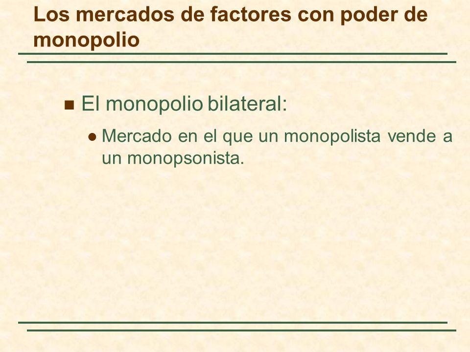 El monopolio bilateral: Mercado en el que un monopolista vende a un monopsonista. Los mercados de factores con poder de monopolio