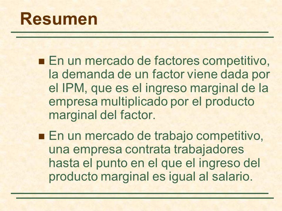 Resumen En un mercado de factores competitivo, la demanda de un factor viene dada por el IPM, que es el ingreso marginal de la empresa multiplicado po