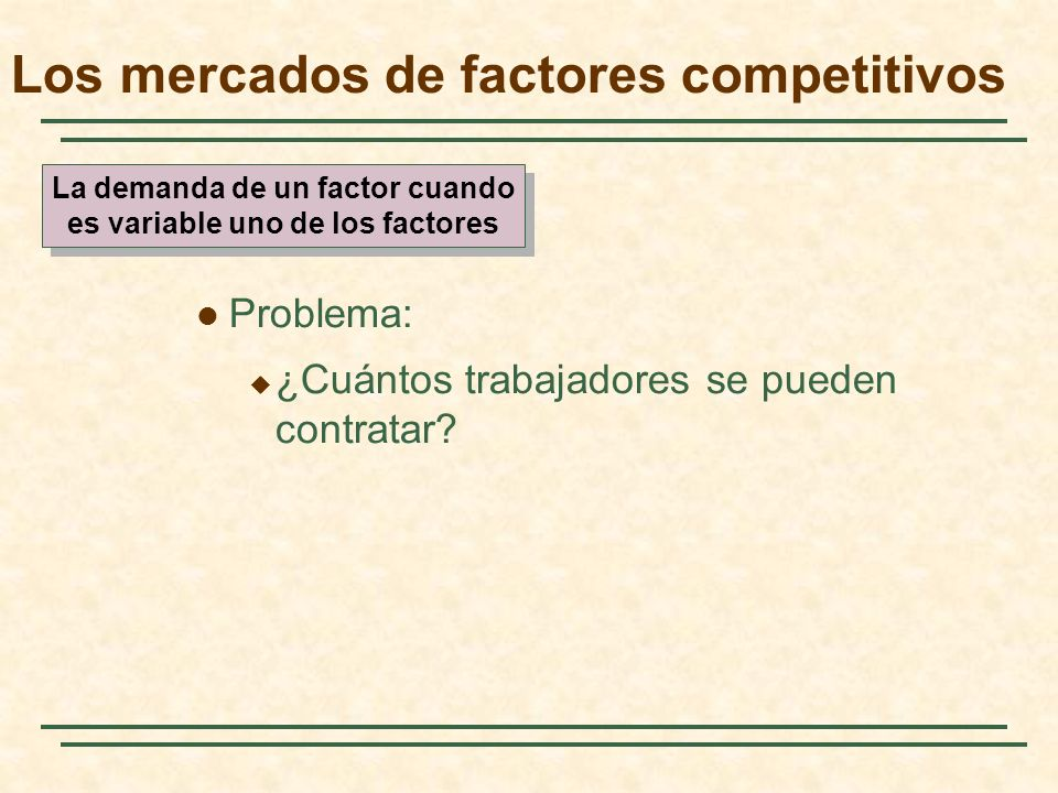 Problema: ¿Cuántos trabajadores se pueden contratar? Los mercados de factores competitivos La demanda de un factor cuando es variable uno de los facto