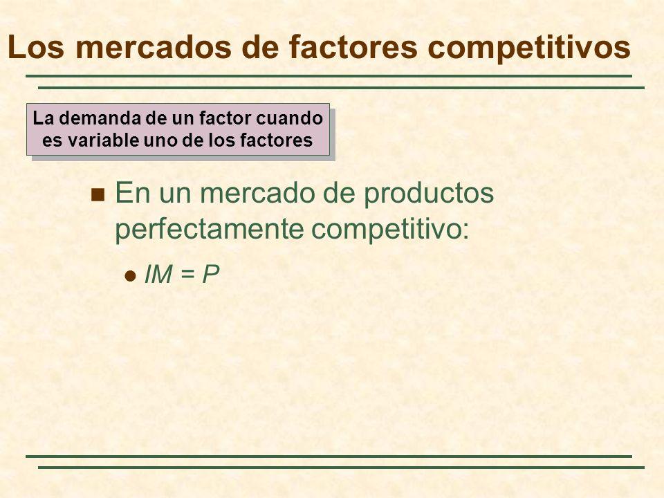 En un mercado de productos perfectamente competitivo: IM = P Los mercados de factores competitivos La demanda de un factor cuando es variable uno de l